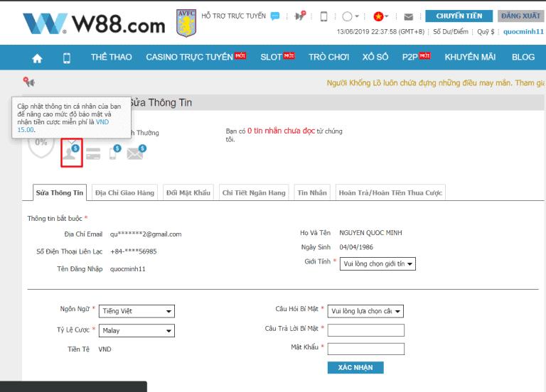 Đăng ký W88 và nhận khuyến mãi tiền cược miễn phí 90.000 VND