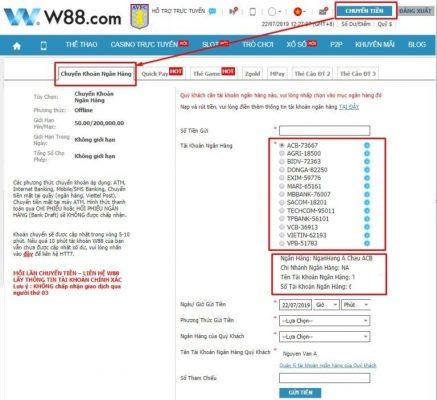 link vào w88 thực hiện chuyển khoản
