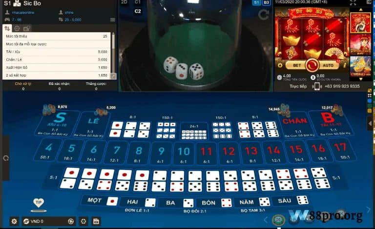 w88 casino đánh bài online ăn tiền thật sicbo