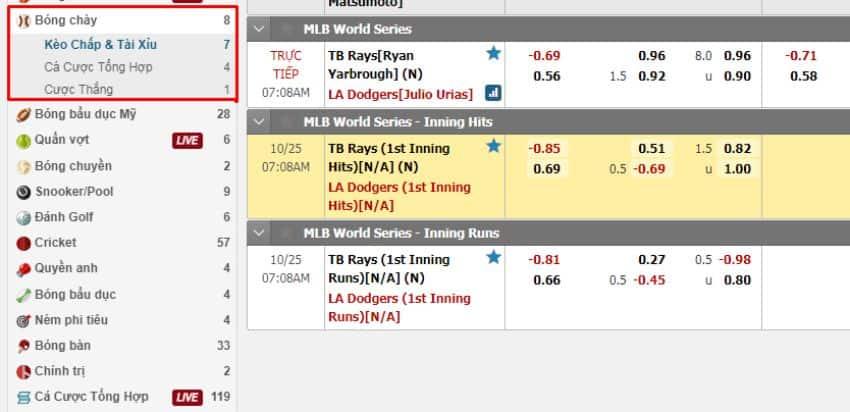 cách chơi cá cược bóng chày tại nhà cái w88
