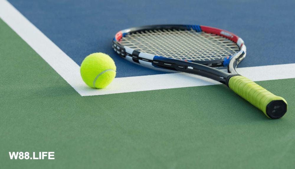 vợt tennis và bóng nỉ